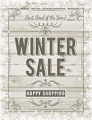 Christmas poster with frame of snowflakes and sale offer over beige wooden background, vector illustration