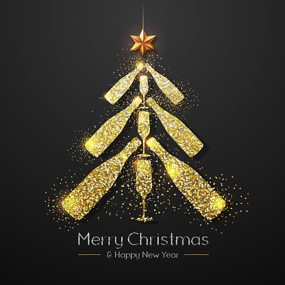 Christmas poster with golden champagne bottle. Golden Christmas tree on red background