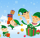 Christmas Present Elf Surprise. With Happy elves unpacking presents on snowy landscape, with colored spheres all over scene. Vector illustration cartoon.