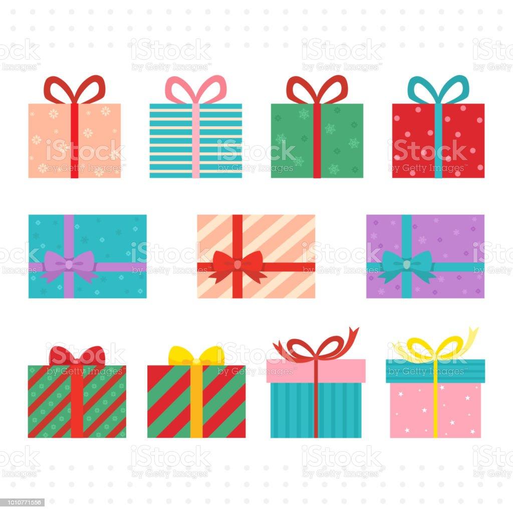 Christmas present gift box vector art illustration