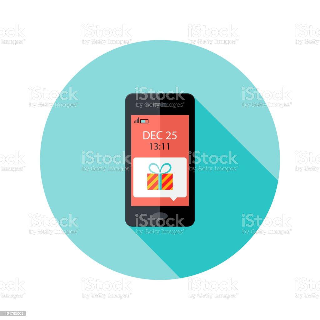 Christmas Present Smartphone Notification Circle Flat Icon