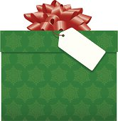 Vector illustration of a christmas or birthday present with bow and blank tag.