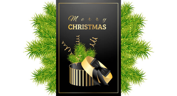 ilustrações de stock, clip art, desenhos animados e ícones de christmas present with green branches of spruce. packing box with strips and a black bow. vector background for banners, cards, cards, presentations and posters - gradients golden ribbons