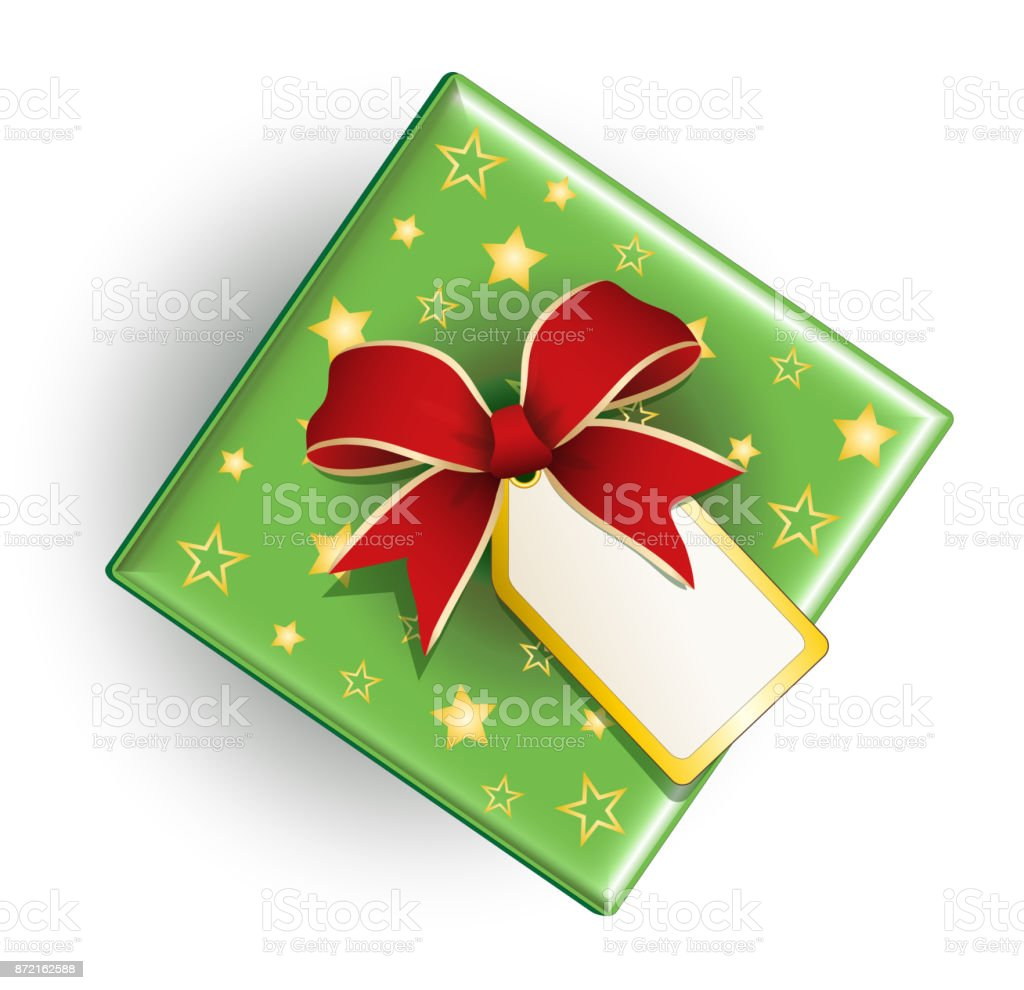 Christmas Present With Red Bow And Card Christmas Gift Card Stock ...