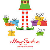 Lettering Merry Christmas and Happy New Year with elf legs in green shoes and colorful gift boxes isolated on white background, illustration.