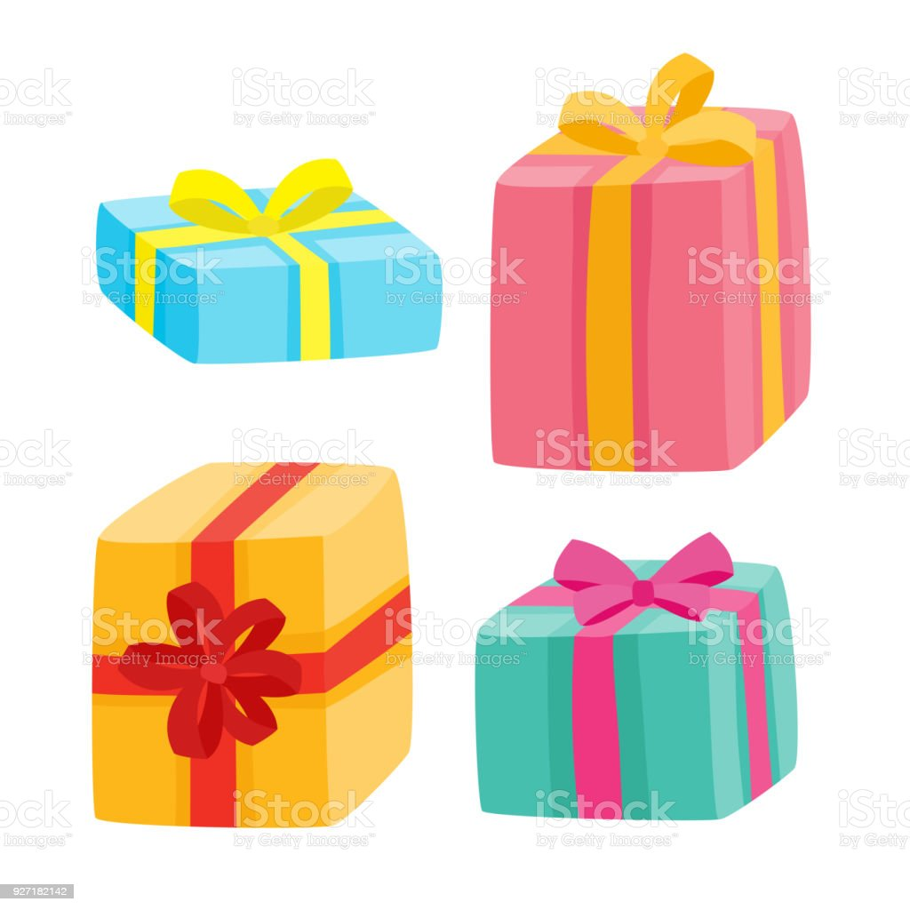 christmas presents collection vector illustration of cartoon gifts royalty free christmas presents collection vector