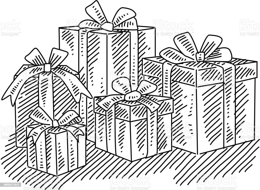 Drawings Of Christmas Presents.Christmas Presents Drawing Stock Illustration Download