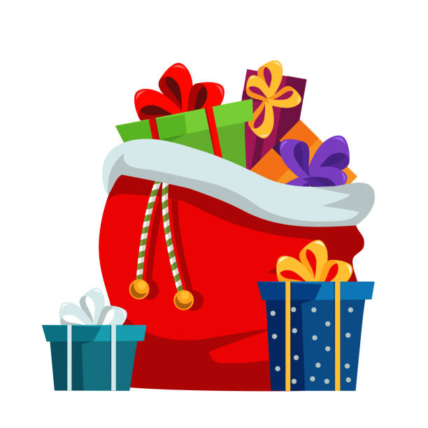stockillustraties, clipart, cartoons en iconen met kerst presenteert sack platte vector illustratie - zak tas