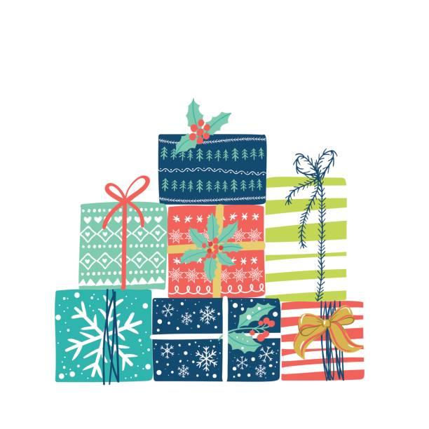 stockillustraties, clipart, cartoons en iconen met kerstcadeautjes set. vector winter vakantie achtergrond. - christmas presents