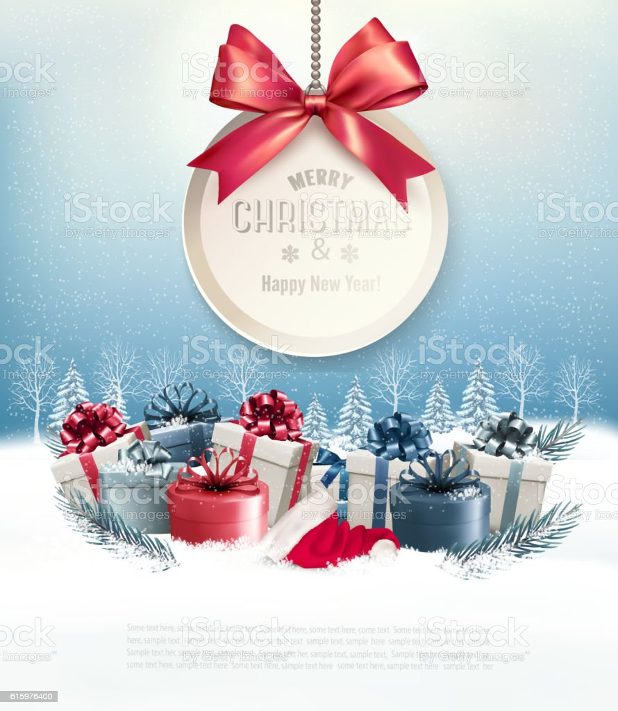 Christmas Presents.Christmas Presents With A Gift Card And A Ribbon Vector Stock Illustration Download Image Now
