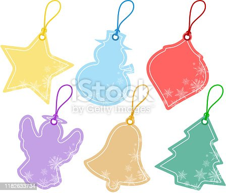 Christmas price tags in pastel color.