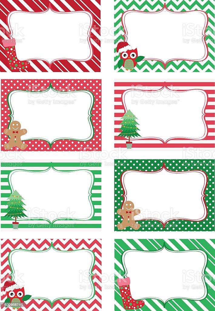 Christmas Printable labels Set.Photo Frame, Gift Tags,Invitation - ilustração de arte em vetor