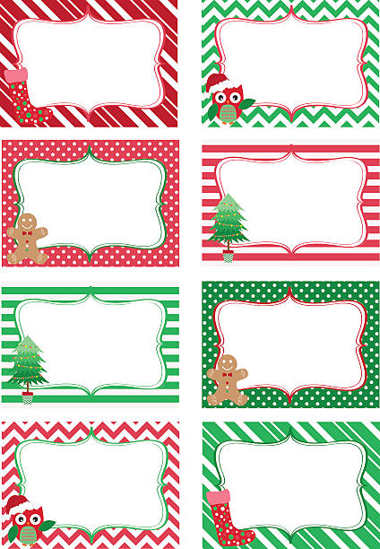 Christmas Printable labels Set.Photo Frame, Gift Tags,Invitation The vector for Christmas Printable labels Set.Photo Frame, Gift Tags,Invitation geographical border stock illustrations