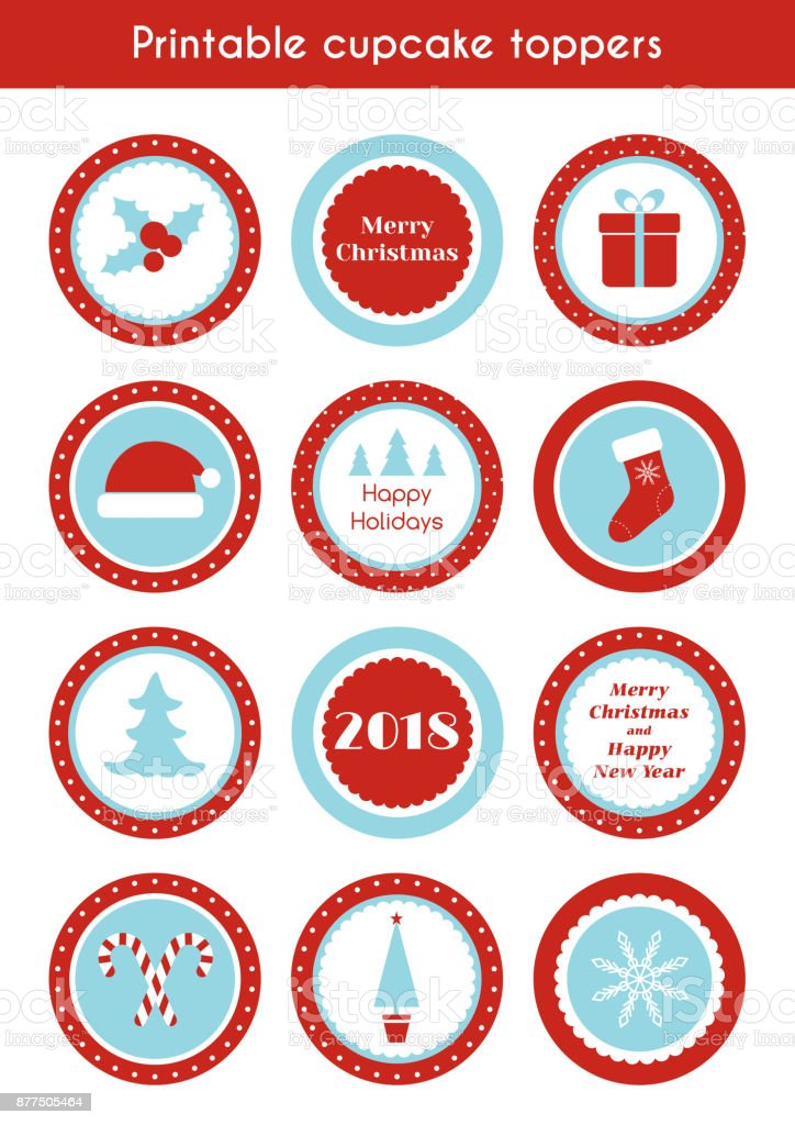 christmas printable stickers circle cupcake toppers labels for