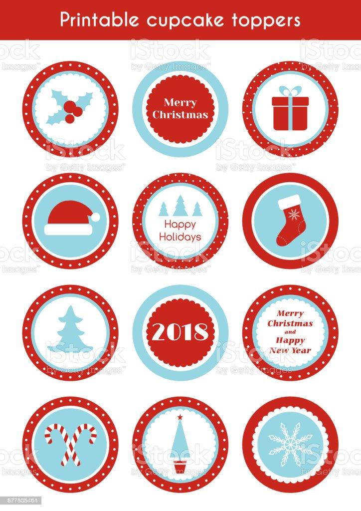 Weihnachten Bedruckbare Aufkleber Kreis Cupcake Topper Etiketten Für ...