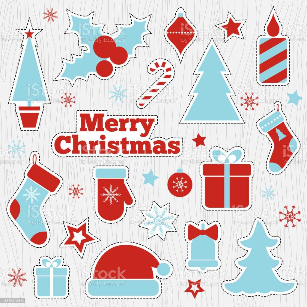 Weihnachten Bedruckbare Aufkleber Aufnäher Mode Vektor Illustration ...