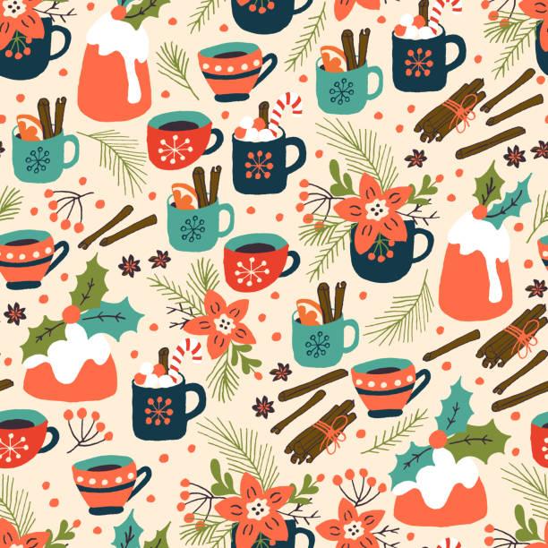 christmas pudding und heißgetränk nahtlose muster - weihnachtsschokolade stock-grafiken, -clipart, -cartoons und -symbole