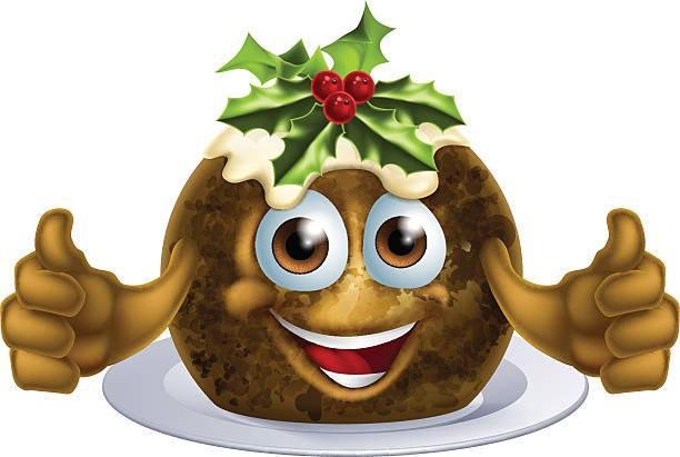 christmas pudding kuchen mann - pflaumenkuchen stock-grafiken, -clipart, -cartoons und -symbole