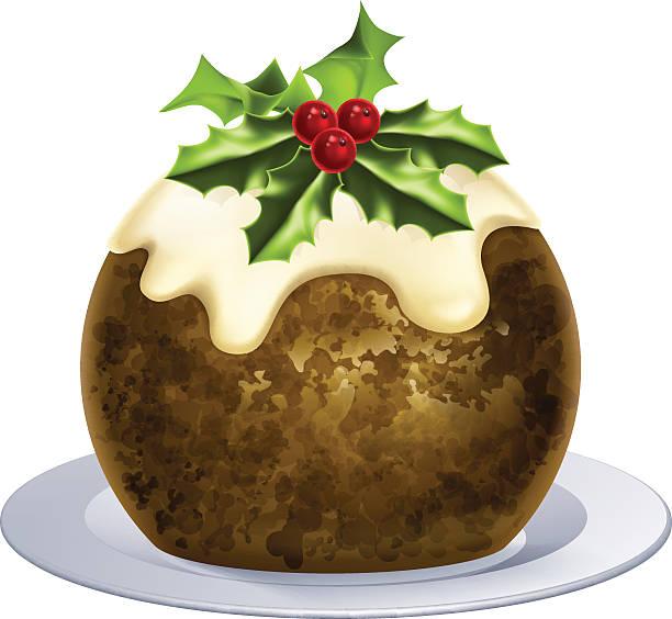 christmas pudding kuchen - pflaumenkuchen stock-grafiken, -clipart, -cartoons und -symbole