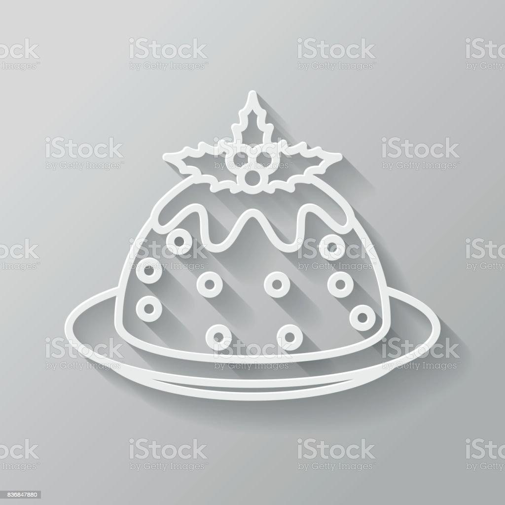 Christmas Pudding Thin Line Flat Design Icon vector art illustration