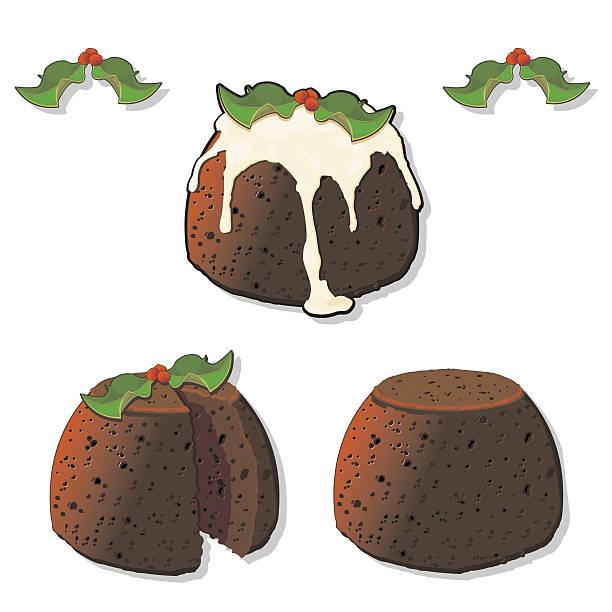 christmas pudding mit holly - vanillesauce stock-grafiken, -clipart, -cartoons und -symbole