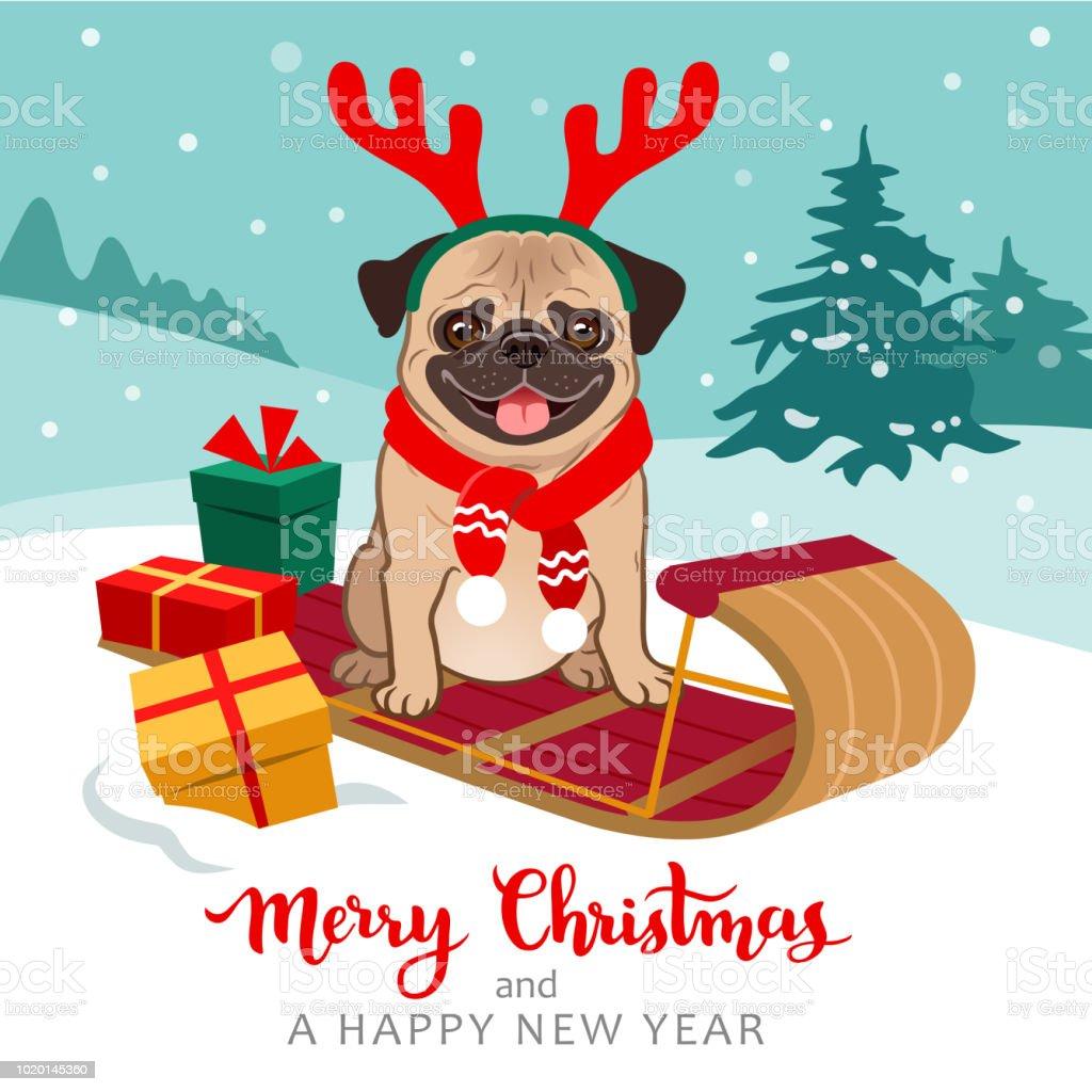Mops Bilder Weihnachten.Weihnachten Mops Hund Cartoon Illustration Süße Mops Welpen Tragen