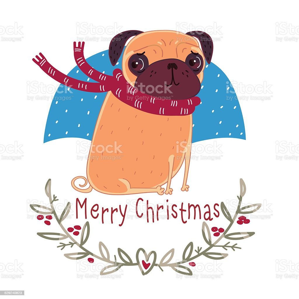 Christmas pug wearing a scarf vector art illustration