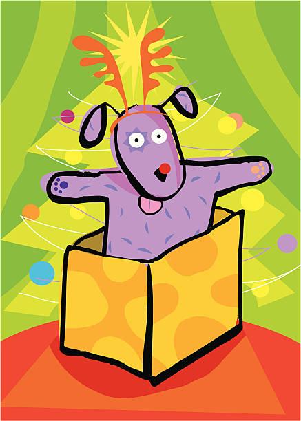 christmas puppy vektorkonstillustration