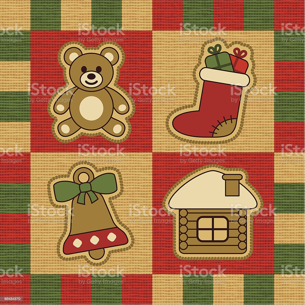 Weihnachten quilt - Lizenzfreies weihnachten quilt stock vektor art und mehr bilder von appliqué