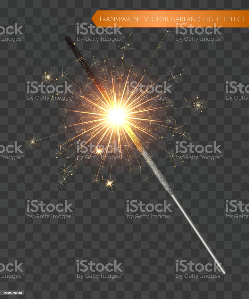 Christmas realistic bengal light effect. Isolated sparkler light vector art illustration