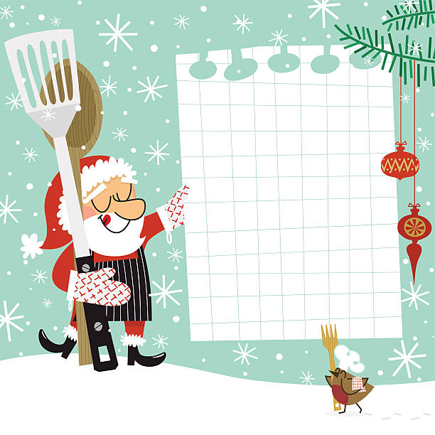Christmas recipe. Santa Claus chef Santa Claus cooking.Please see some similar pictures in my lightboxs: cooking borders stock illustrations