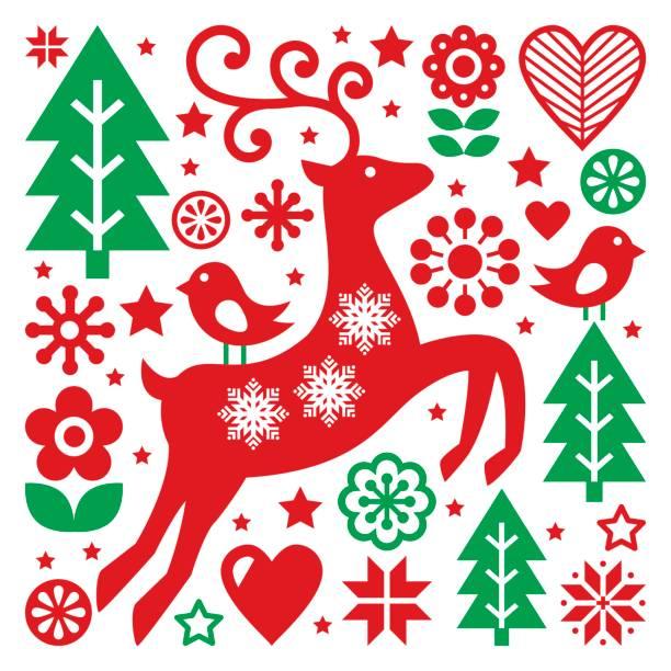 Royalty free danish christmas clip art vector images christmas red and green pattern scandinavian folk art reindeer birds and flowers decoration m4hsunfo