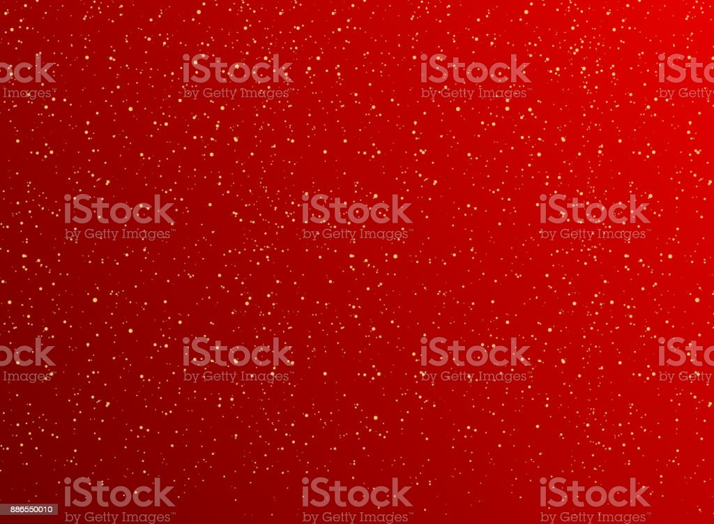 Christmas red background with Golden dots decorations and Gold glitters. vector art illustration