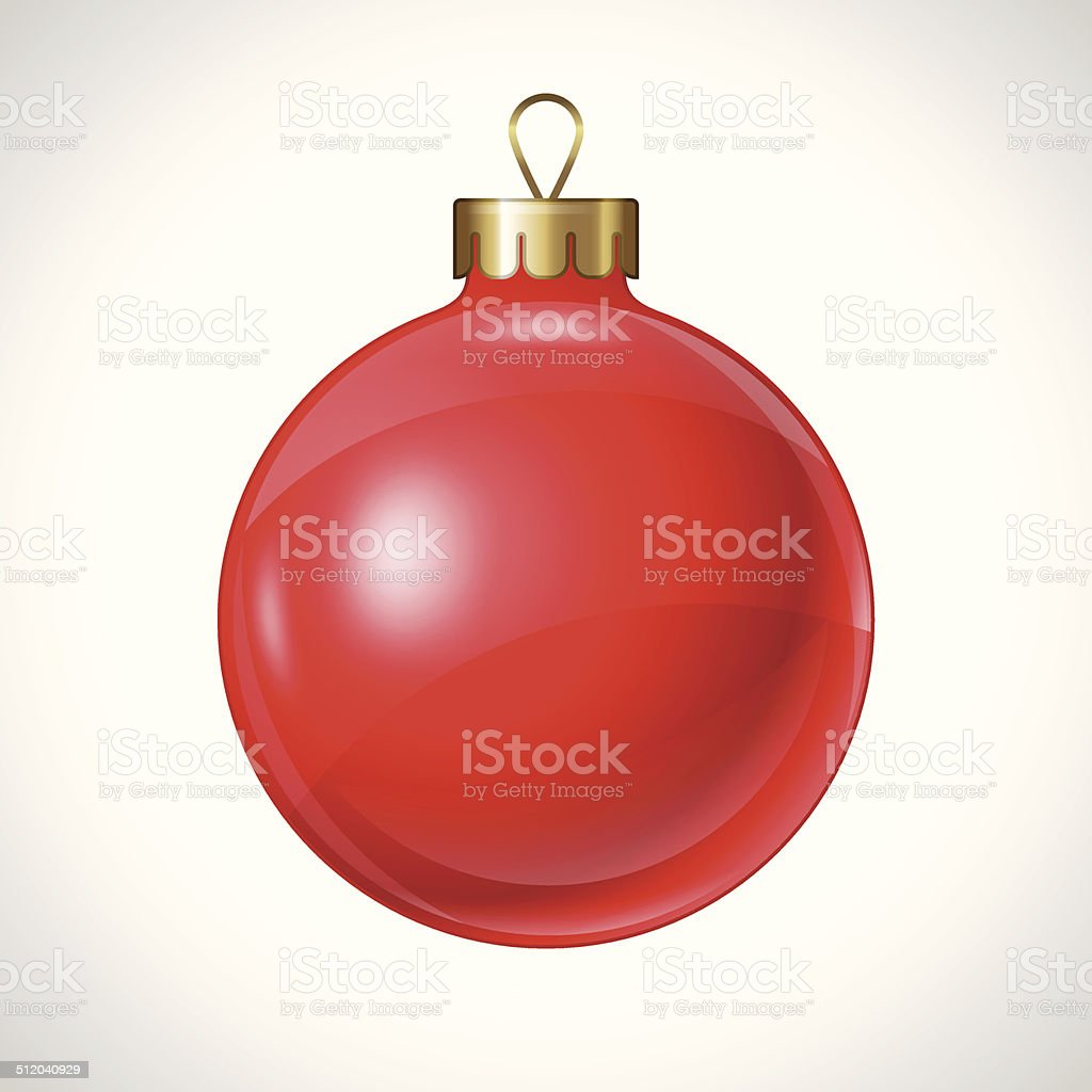 Christmas red ball isolated on white for design. vector art illustration