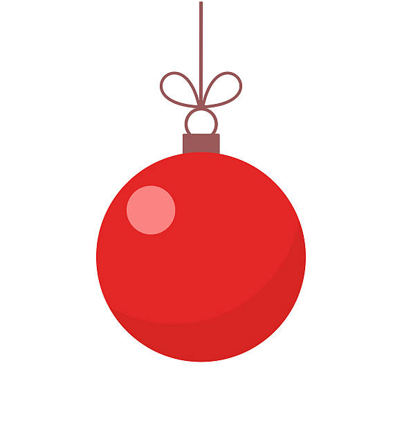 stockillustraties, clipart, cartoons en iconen met christmas red ball ornament - kerstballen