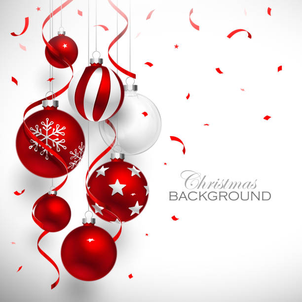 Christmas red balls Christmas balls of red color with red ribbons and confetti. Vector illustration christmas ornament stock illustrations