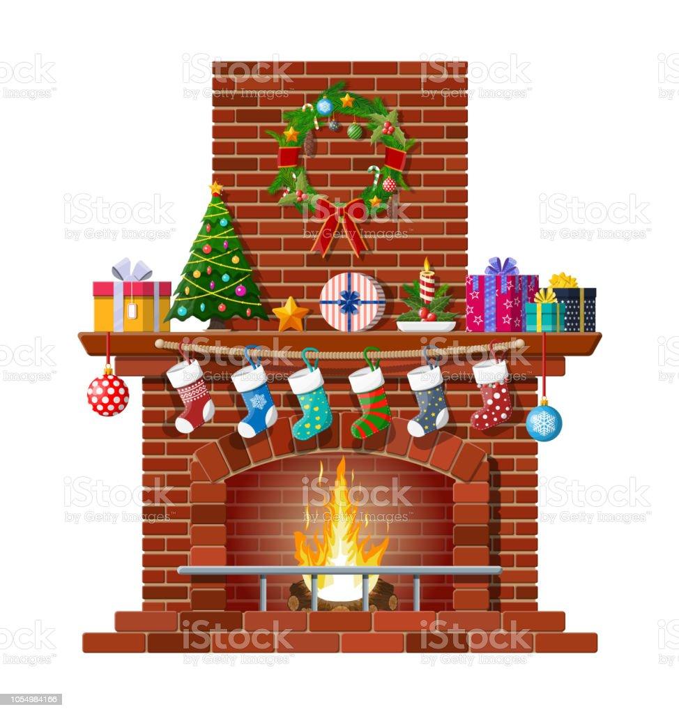 Kerst rode bakstenen klassieke open haard - Royalty-free Baksteen vectorkunst
