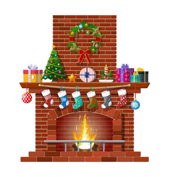 ilustrações de stock, clip art, desenhos animados e ícones de christmas red brick classic fireplace - braseiro