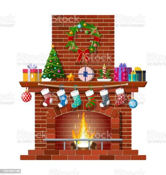 Kerst Rode Bakstenen Klassieke Open Haard Stockvectorkunst en meer beelden van Baksteen