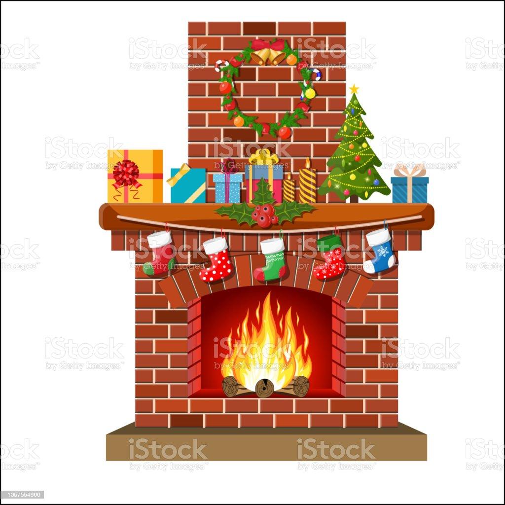 Conduit De Cheminee En Brique Rouge noël rouge classique cheminée en brique vecteurs libres de