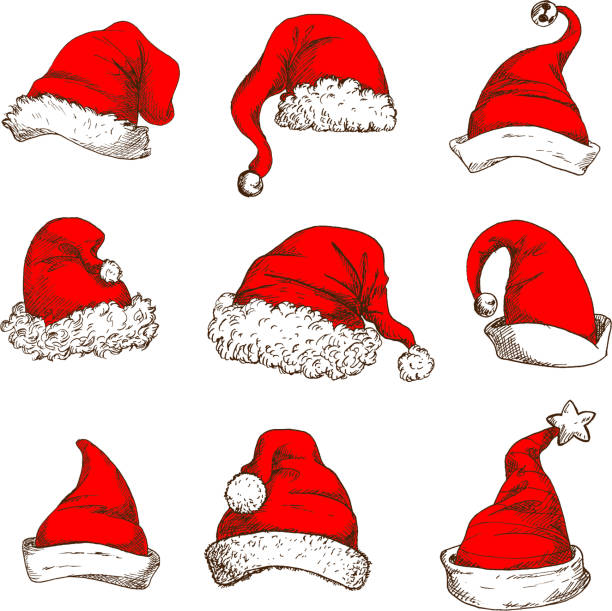 Christmas red hat or cap of Santa and elf icon Santa Claus red hat icon set. Christmas red hat and cap of Santa and elf with white fur trim, pom-pom, jingle bell and star. Christmas and New Year design element santa hat stock illustrations