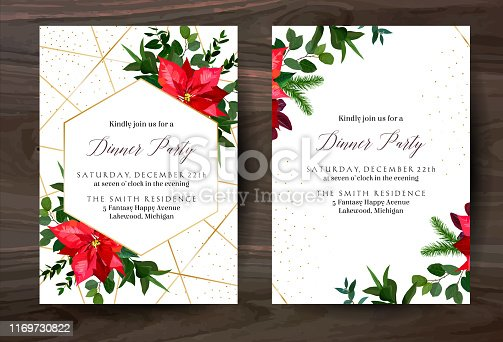 Christmas red poinsettia, eucalyptus, fir branch, barberry vector design winter frames on white. Gold polygonal line art with glitter. Geometric cards. Party invitations. Isolated and editable