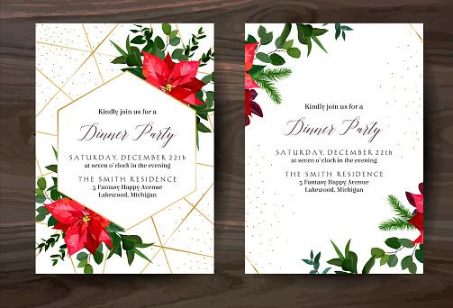 크리스마스 빨간 Poinsettia 유칼립투스 전나무 분기 벡터 디자인 겨울 프레임 에 화이트 0명에 대한 스톡 벡터 아트 및 기타 이미지