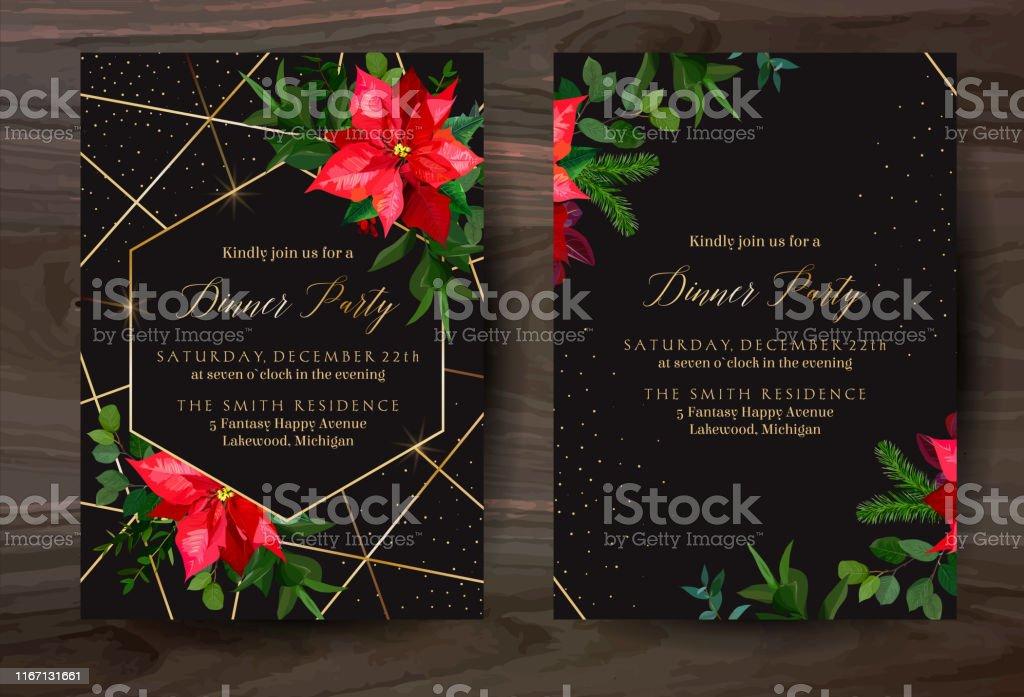 Weihnachten rot poinsettia Vektor Design Winterrahmen auf schwarz. - Lizenzfrei Altertümlich Vektorgrafik