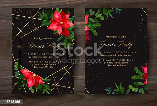 Christmas red poinsettia, eucalyptus, fir branch, barberry vector design winter frames on black.Gold polygonal line art with glitter. Geometric cards. Party invitations. Isolated and editable