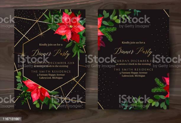 Weihnachten Rot Poinsettia Vektor Design Winterrahmen Auf Schwarz Stock Vektor Art und mehr Bilder von Altertümlich