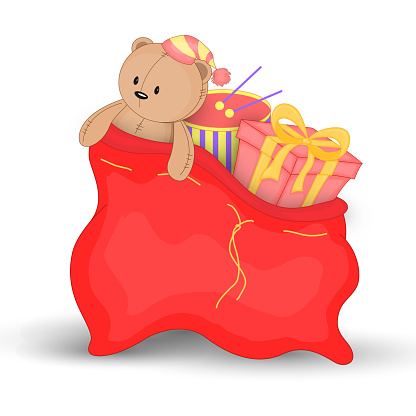 Christmas Red Sack With Gifts And Toys Cute Christmas Bag ...