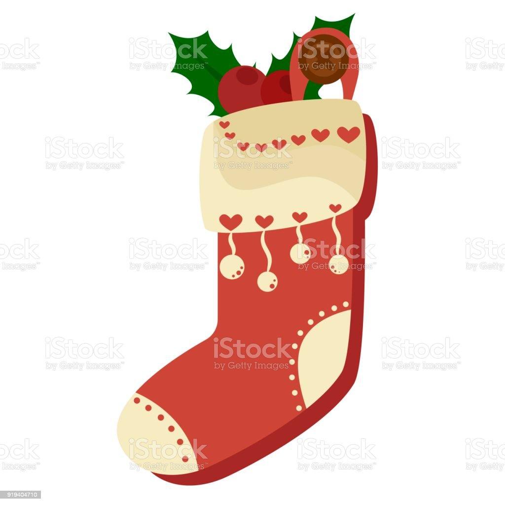 Weihnachten Rote Socke Voller Süßigkeiten Kekse Und Geschenke ...
