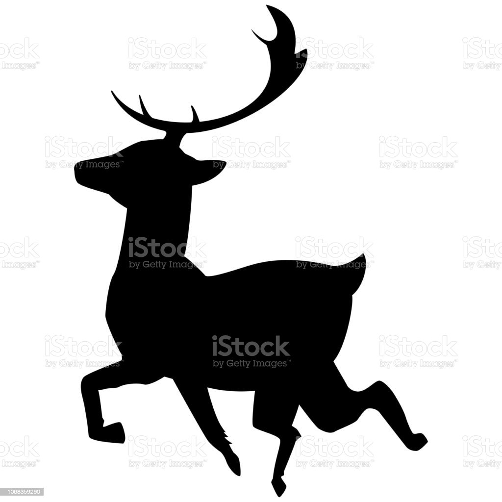 Christmas Reindeer Silhouette.Christmas Reindeer Black Silhouette Vector Icon Isolated On
