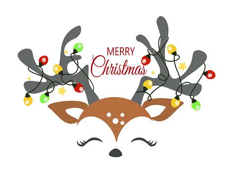 Christmas reindeer face vector